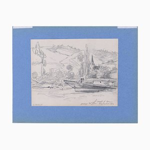 Le Canot - Original Charcoal Drawing on Paper y G. Bruelle 1874