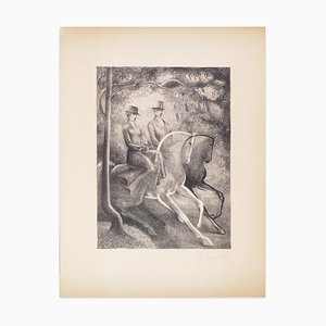 Black and White Horses - Original Lithograph by R. Mendes France - Mid 1900 mid 1900