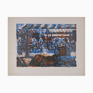 The Fabric Market - Original Lithograph by Léon Lang - Late 1900 Late 1900