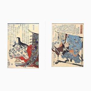 Jingu-kogo Empress - Pair of Woodcut Prints by Utagawa Kuniyoshi - Mid 1800 Mid 1800