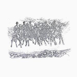 Groupe de Cavaliers - Original s / w Radierung - Mitte 1900 Mitte 20. Jahrhundert