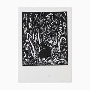Le Lapin (The Rabbit) - Original Woodcut Print by G. Halff Mid 20th Century