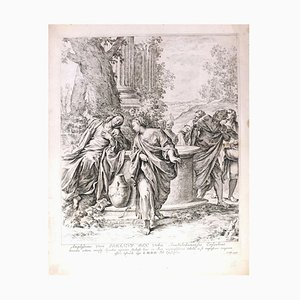 Christ and the Samaritan Woman - Original Etching After Annibale Carracci - 1669 1669