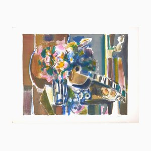 Flowers And Guitar - Original Lithograph by Jean Marzelle - 1970s 1970s