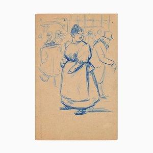 Femme debout avec tablier - Dessin Pastel à l'Huile Bleu par E. Couturier - 1890s 1890s