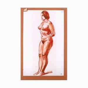 Femme Nue Main Derrière le Dos - Kohlezeichnung von M. Roche - Früh 1900 Frühes 20. Jahrhundert