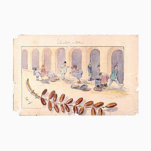 The Picking of Dates - Original Ink and Watercolor on Paper - 1916 1916