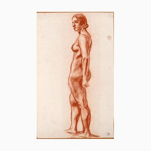 Standing Female Nude - Charcoal Drawing by M. Roche - Early 1900 Early 20th Century