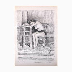 Femme Assise - Original Kohlezeichnung auf Papier - spätes 20. Jahrhundert spätes 20. Jahrhundert