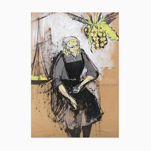Woman With Pineapple - Original Gouache by Jeanne Esmein - 1970s 1970s