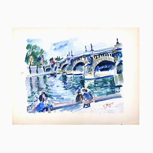 Paris Bridge - Acrylic Painting on Paper by G. Agar 1970s