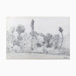 Paisaje en blanco y negro - Lápiz dibujo sobre papel de MH Yvert - Finales de siglo XIX, finales del siglo XIX