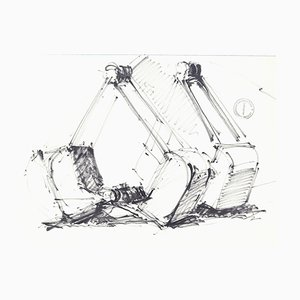Machineries - Original Pen Drawing on Paper by Paul Garin - 1950s 1950s