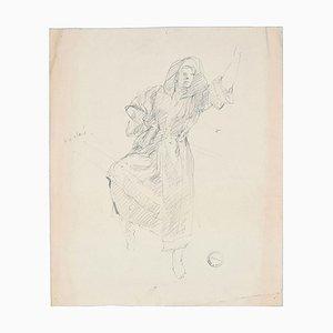 Dancing Man - Original Pen Drawing on Paper by Paul Garin - 1950s 1950s