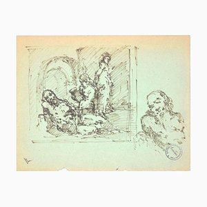 The Rest - Original Pen Drawing on Paper by Paul Garin - 1950s 1950s