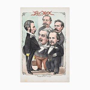 Onorevoli Del Centro - Lithograph by A. Maganaro - 1872 1872