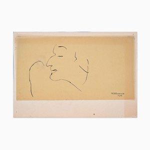 Profile of Man - Original China Ink Drawing by Flor David - 1949 1949
