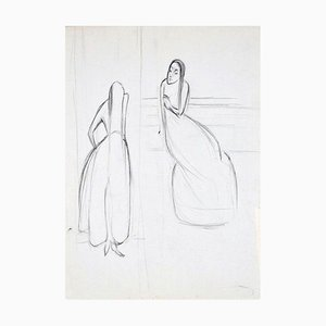 Two Women - Original Charcoal Drawing by Flor David - 1950s 1950s