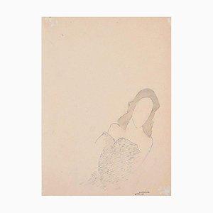 La Reine Morte - Original China Ink Drawing by Flor David - 1953 1953