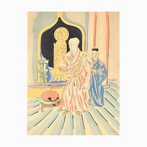 In a Buddhist Temple - Original Lithograph by L.T. Foujita - 1928 1928