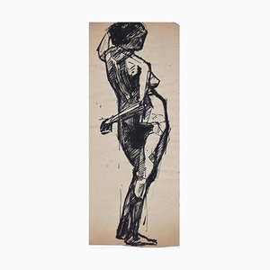Female Nude - China Ink and Watercolor Drawing - Early 20th Century Early 20th Century