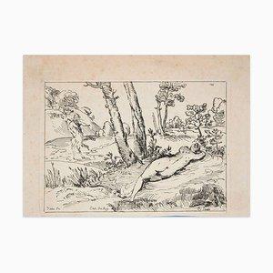 Schlafende Nymphe - Original Radierung nach Tizian - Frühes 18. Jahrhundert Frühes 18. Jahrhundert
