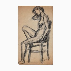 Sitting Female Nude - Original Charcoal Drawing - Early 20th Century Early 20th Century