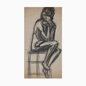 Sitting Woman - Original Charcoal Drawing - Early 20th Century Early 20th Century