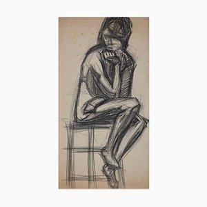 Sitzende Frau - Original Kohlezeichnung - Frühes 20. Jahrhundert Frühes 20. Jahrhundert