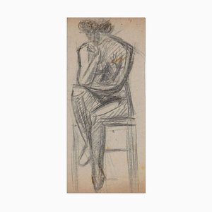 Sitting Nude - Original Charcoal Drawing - Early 20th Century Early 20th Century