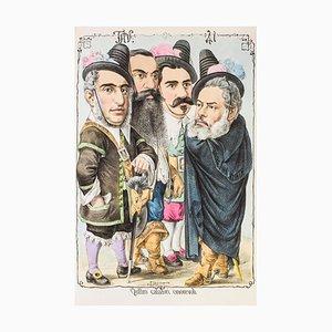 Quattro Calari Onorevoli - Original Lithograph by Antonio Manganaro - 1870s 1870s