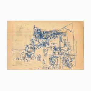 Dessin Original Chine Encre par Jeanne Daour - 1953 1953