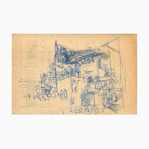 Party - Original China Ink Drawing by Jeanne Daour - 1953 1953