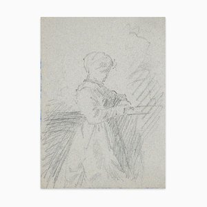 Woman - Original Pencil Drawing - Late 19th Century Late 19th Century