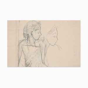 Profile - Original Pencil Drawing Beginning of 20th Century Early 20th Century