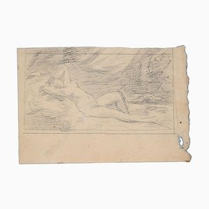 Lying Down Woman - Original Charcoal Drawing - Late 19th Century Late 19th Century