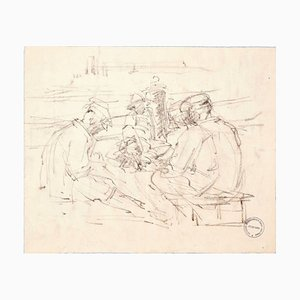In Good Company - Original Charcoal Drawing by Paul Garin - 1950s 1950s