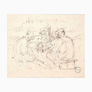 In Good Company - Original Kohlezeichnung von Paul Garin - 1950er 1950er