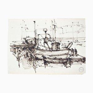 The Ship - Original Tempera auf Papier von Paul Garin - 1950er 1950er