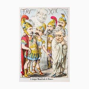I Cinque Onorevoli di Roma - Original Lithograph by A. Maganaro - 1870s 1870s