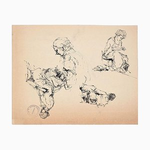 Sketches - Original Pen Drawing by Paul Garin - 1950s 1950s