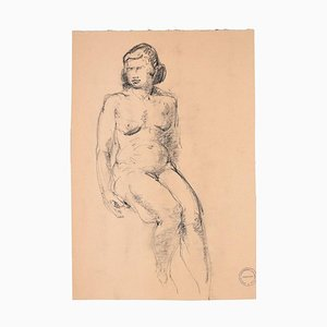 Sitting Woman - Original Charcoal Drawing by Paul Garin - 1950s 1950s