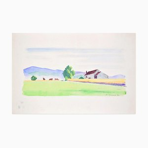 Countryside - Originales Aquarell auf Papier von Pierre Segogne - 1950er 1950