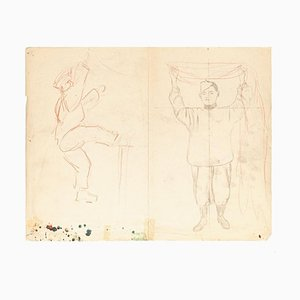 Figures - Original Pencil and Pastel Drawing - Early 20th Century Mid 20th Century