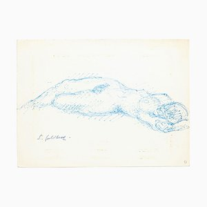 Nude - Original Pen Drawing by S. Goldberg - Mid 20th Century Mid 20th Century