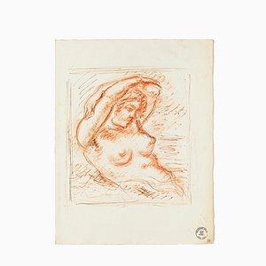 Nude - Original Sanguine by S. Goldberg - Mid 20th Century Mid 20th Century