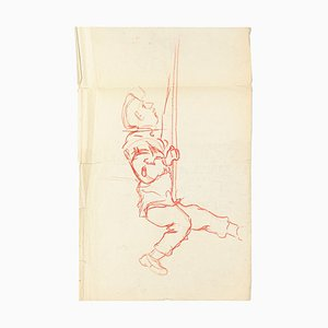 Climbing Figure - Original Pencil and Pastel Drawing - Early 20th Century Mid 20th Century