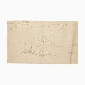 Landscape - Original Pen Drawing - Mid 20th Century 1950s