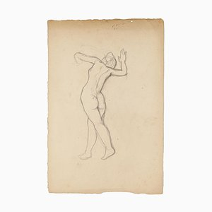 Nude - Original Pencil Drawing by Jeanne Daour - 1950s 1950s