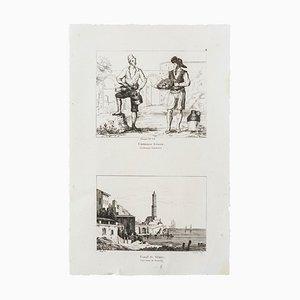 The Lighthouse of of Genova - Original Etching - 19th Century 19th Century